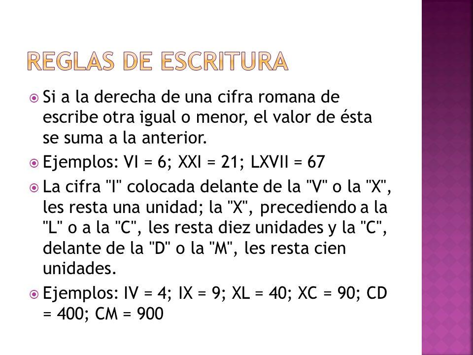 La numeración romana utiliza siete letras mayúsculas a las que corresponden los siguientes valores Ejemplos: XVI = 16; LXVI = 66 LetrasIVXLCDM VALORES