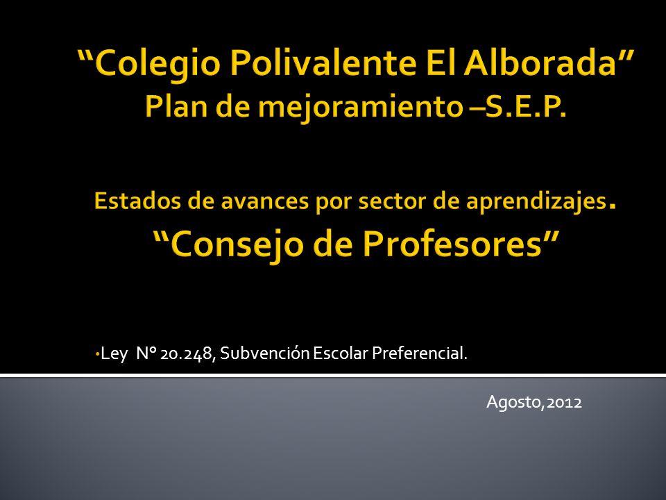 Ley N° 20.248, Subvención Escolar Preferencial. Agosto,2012
