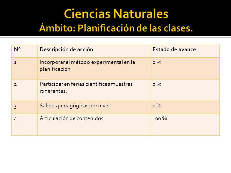 N°Descripción de acciónEstado de avance 1Incorporar el método experimental en la planificación 0 % 2Participar en ferias científicas muestras itinerantes.