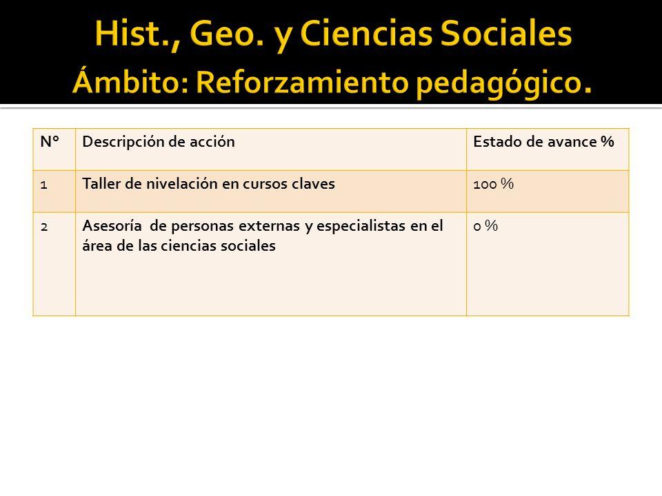 N°Descripción de acciónEstado de avance % 1Taller de nivelación en cursos claves100 % 2Asesoría de personas externas y especialistas en el área de las ciencias sociales 0 %