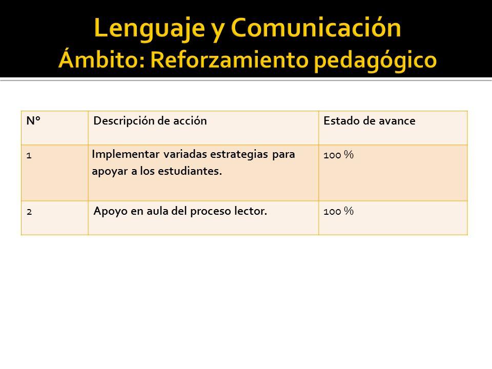 N°Descripción de acciónEstado de avance 1 Implementar variadas estrategias para apoyar a los estudiantes.