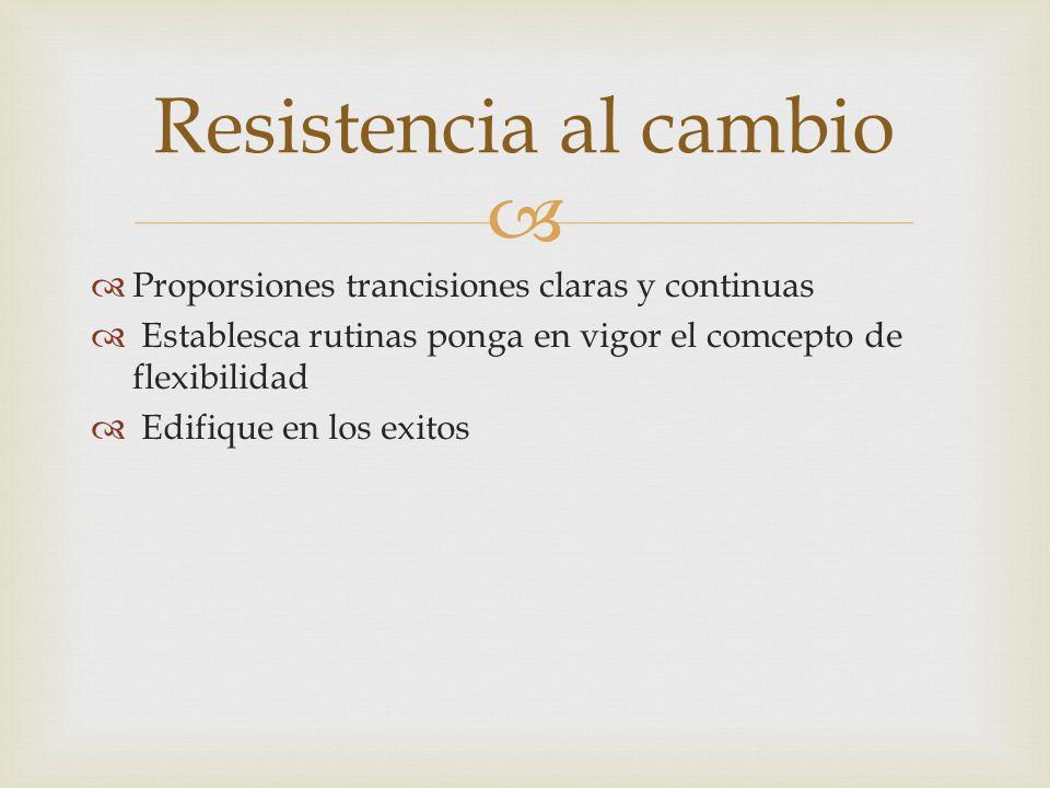 Proporsiones trancisiones claras y continuas Establesca rutinas ponga en vigor el comcepto de flexibilidad Edifique en los exitos Resistencia al cambi