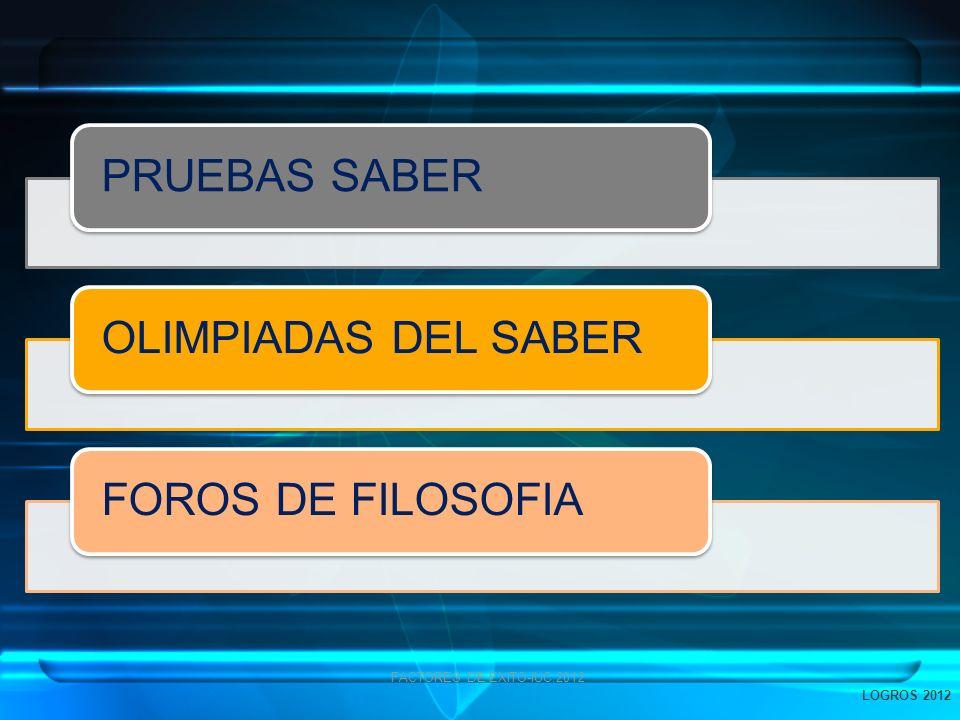PRUEBAS SABEROLIMPIADAS DEL SABERFOROS DE FILOSOFIA FACTORES DE EXITO-IUC.2012 LOGROS 2012