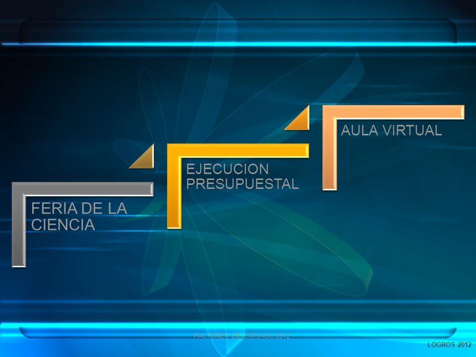 FERIA DE LA CIENCIA EJECUCION PRESUPUESTAL AULA VIRTUAL FACTORES DE EXITO-IUC.2012 LOGROS 2012