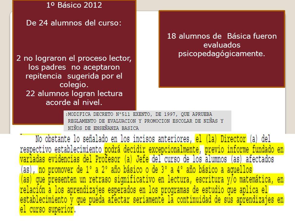 1º Básico 2012 De 24 alumnos del curso: 2 no lograron el proceso lector, los padres no aceptaron repitencia sugerida por el colegio. 22 alumnos logran