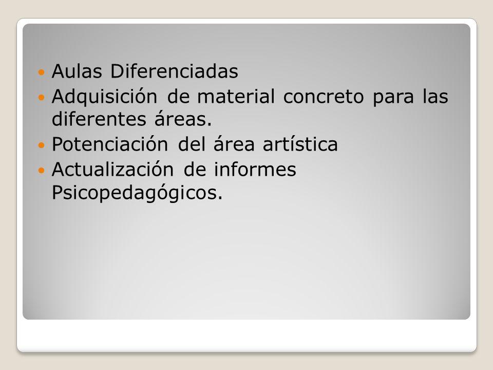 Aulas Diferenciadas Adquisición de material concreto para las diferentes áreas. Potenciación del área artística Actualización de informes Psicopedagóg