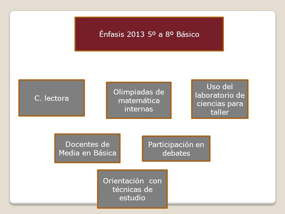 Énfasis 2013 5º a 8º Básico C. lectora Olimpiadas de matemática internas Uso del laboratorio de ciencias para taller Docentes de Media en Básica Parti