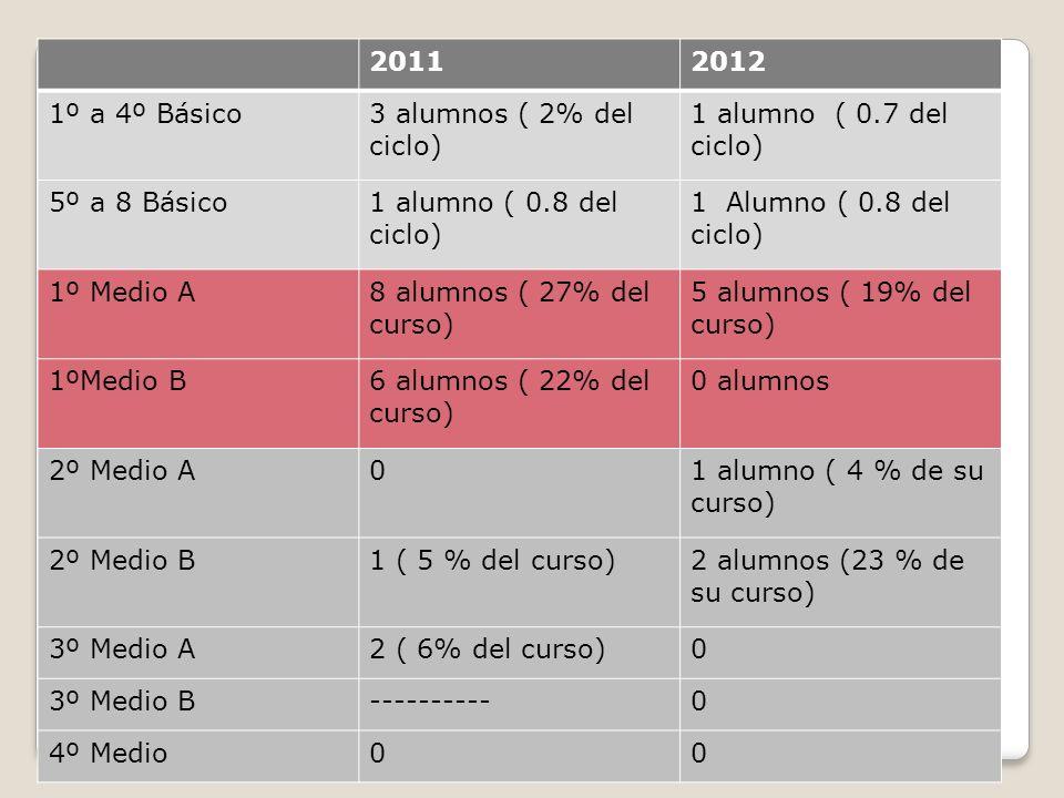 20112012 1º a 4º Básico3 alumnos ( 2% del ciclo) 1 alumno ( 0.7 del ciclo) 5º a 8 Básico1 alumno ( 0.8 del ciclo) 1 Alumno ( 0.8 del ciclo) 1º Medio A8 alumnos ( 27% del curso) 5 alumnos ( 19% del curso) 1ºMedio B6 alumnos ( 22% del curso) 0 alumnos 2º Medio A01 alumno ( 4 % de su curso) 2º Medio B1 ( 5 % del curso)2 alumnos (23 % de su curso) 3º Medio A2 ( 6% del curso)0 3º Medio B----------0 4º Medio00