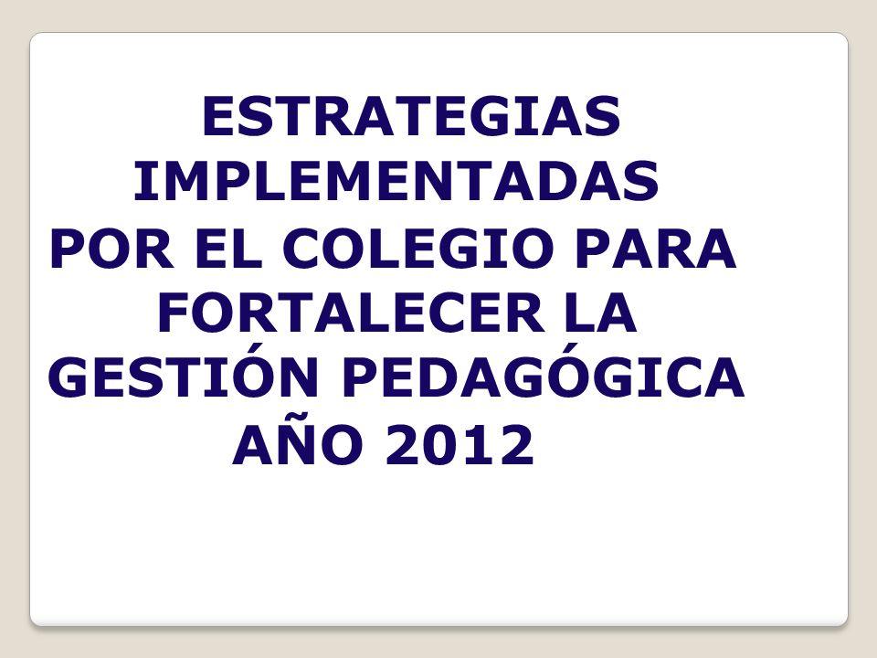 ESTRATEGIAS IMPLEMENTADAS POR EL COLEGIO PARA FORTALECER LA GESTIÓN PEDAGÓGICA AÑO 2012