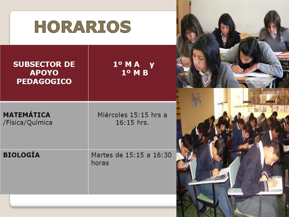 SUBSECTOR DE APOYO PEDAGOGICO 1º M A y 1º M B MATEMÁTICA /Física/Química Miércoles 15:15 hrs a 16:15 hrs. BIOLOGÍAMartes de 15:15 a 16:30 horas