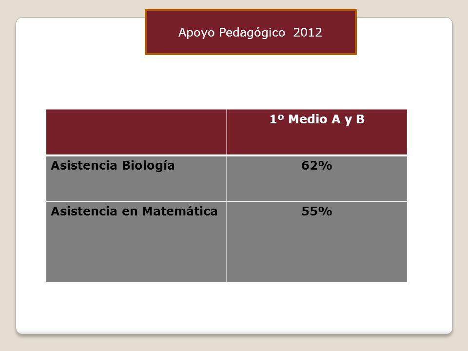1º Medio A y B Asistencia Biología62% Asistencia en Matemática55% Apoyo Pedagógico 2012