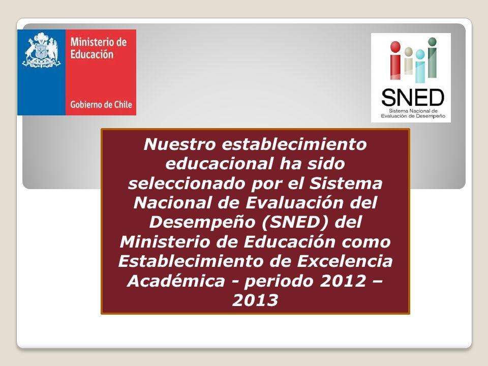 Nuestro establecimiento educacional ha sido seleccionado por el Sistema Nacional de Evaluación del Desempeño (SNED) del Ministerio de Educación como E