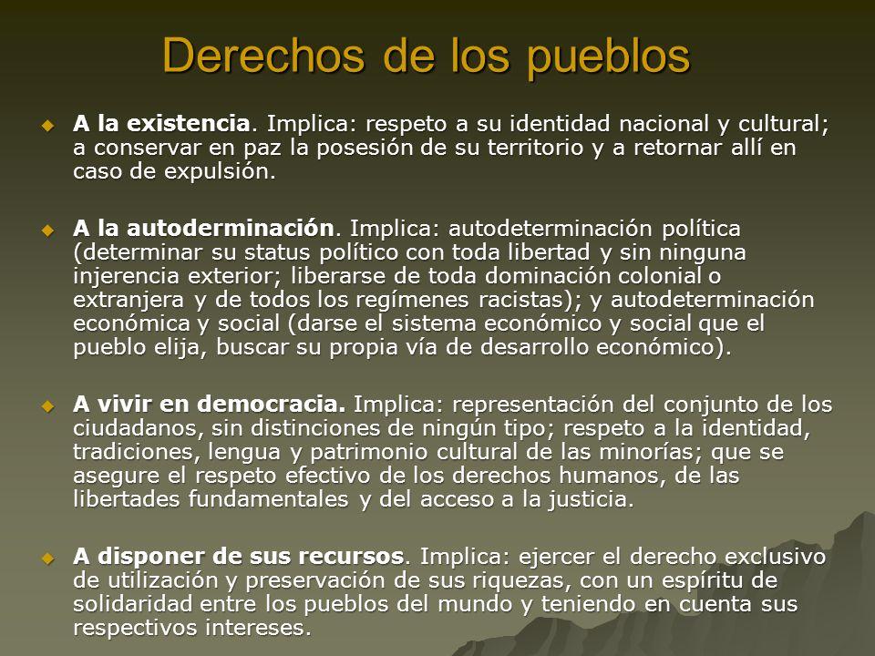 Derechos de los pueblos A la existencia.