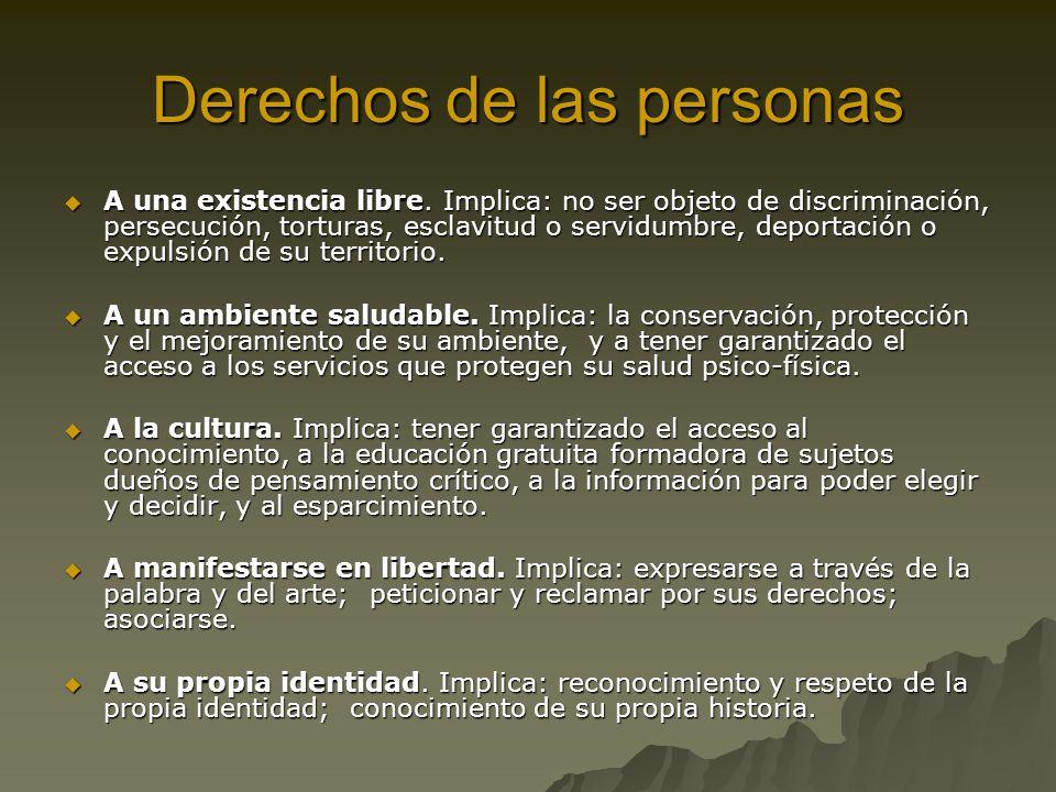 Derechos de las personas A una existencia libre. Implica: no ser objeto de discriminación, persecución, torturas, esclavitud o servidumbre, deportació