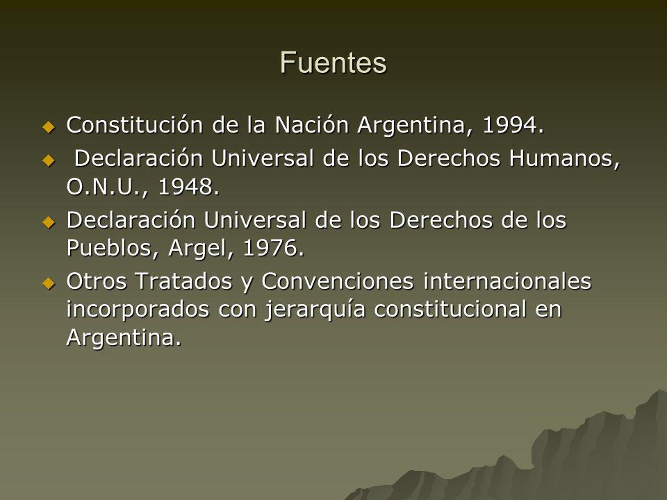 Fuentes Constitución de la Nación Argentina, 1994. Constitución de la Nación Argentina, 1994. Declaración Universal de los Derechos Humanos, O.N.U., 1