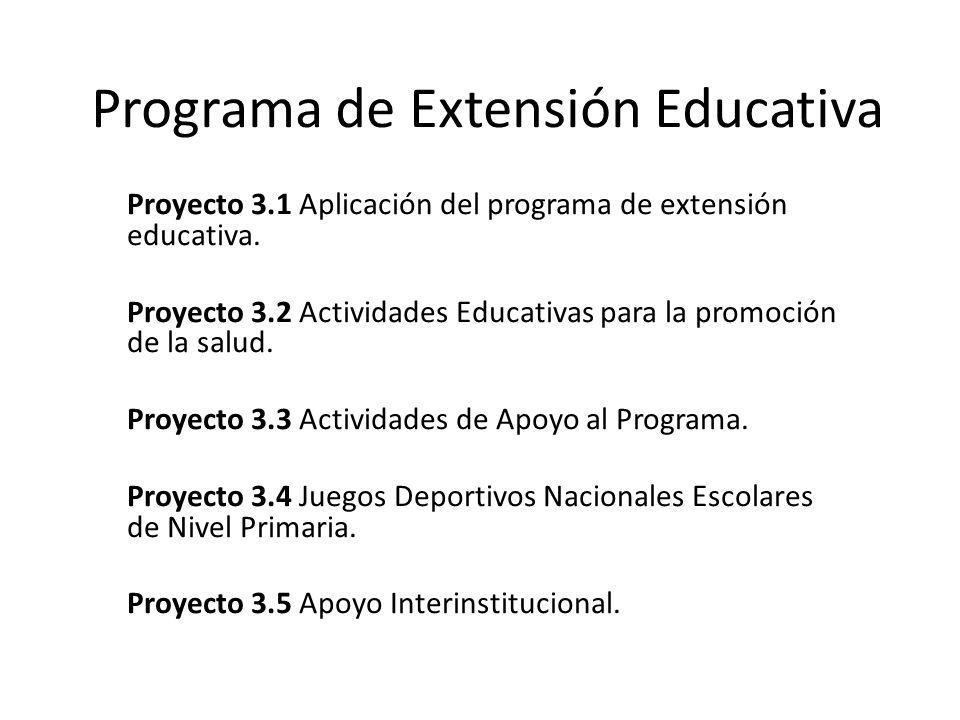 Programa de Extensión Educativa Proyecto 3.1 Aplicación del programa de extensión educativa. Proyecto 3.2 Actividades Educativas para la promoción de