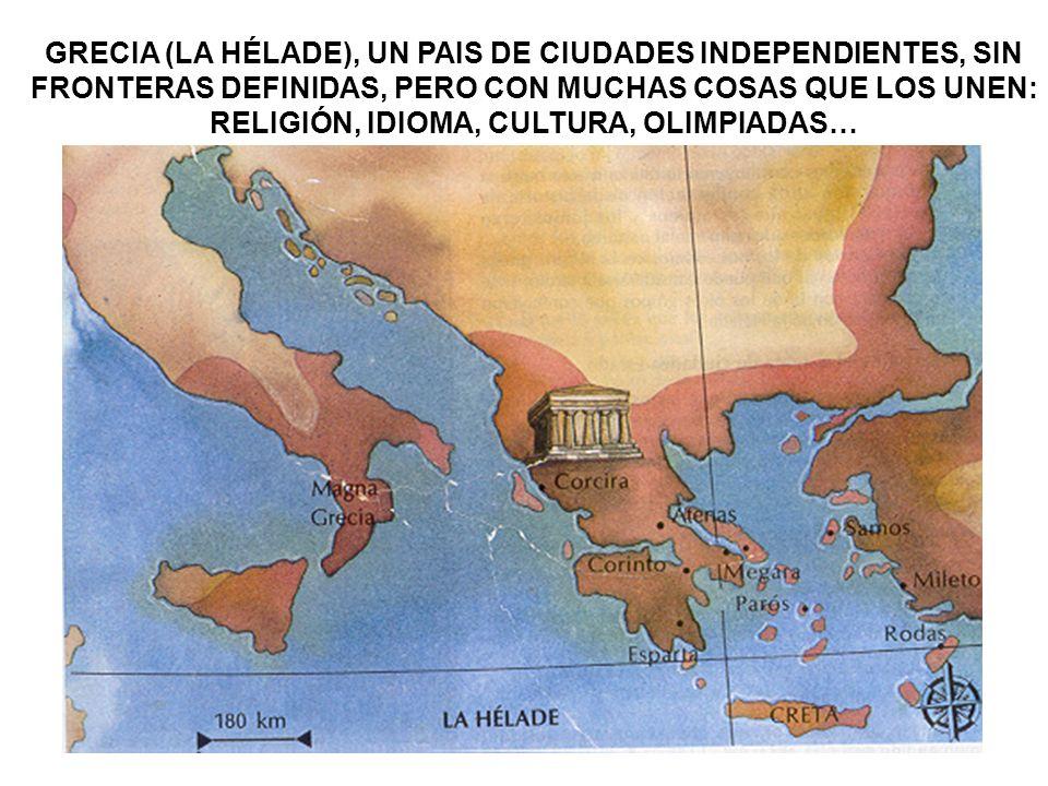 GRECIA (LA HÉLADE), UN PAIS DE CIUDADES INDEPENDIENTES, SIN FRONTERAS DEFINIDAS, PERO CON MUCHAS COSAS QUE LOS UNEN: RELIGIÓN, IDIOMA, CULTURA, OLIMPI