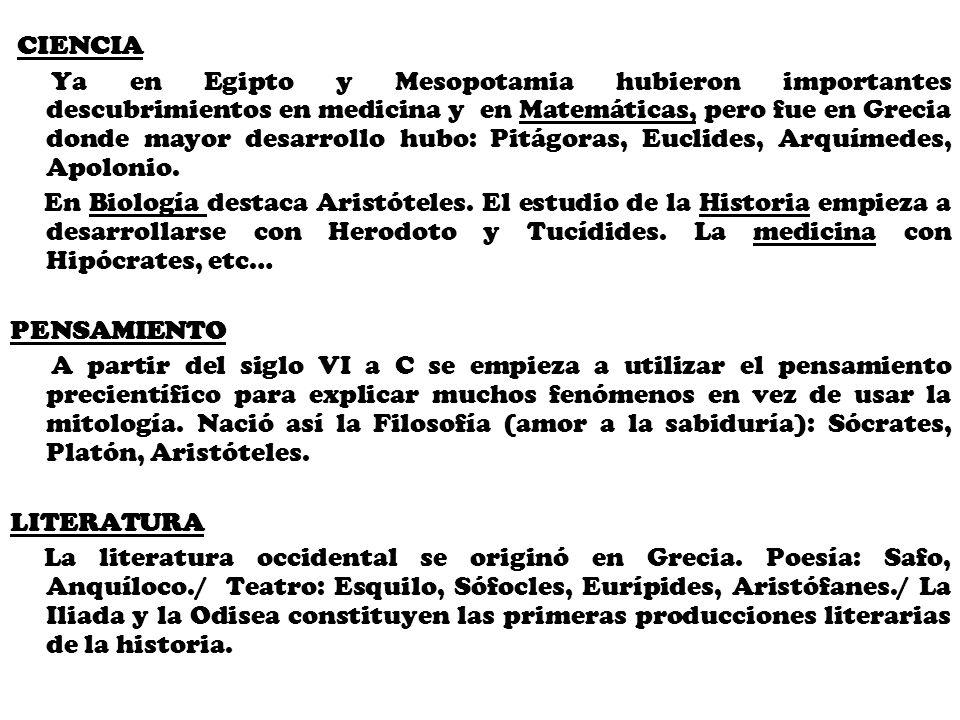CIENCIA Ya en Egipto y Mesopotamia hubieron importantes descubrimientos en medicina y en Matemáticas, pero fue en Grecia donde mayor desarrollo hubo:
