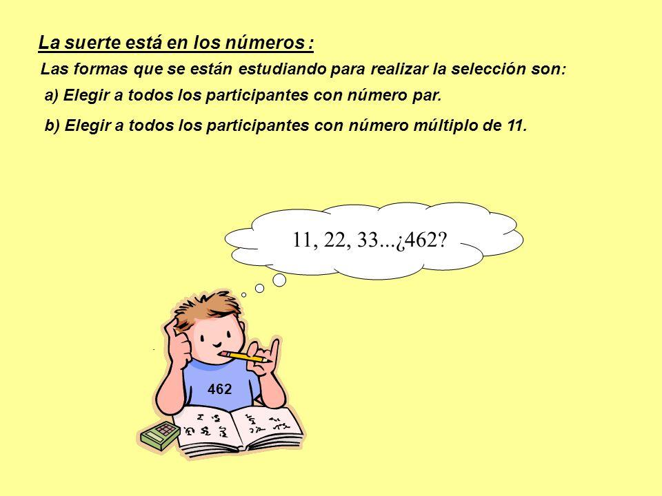 462 b) Elegir a todos los participantes con número múltiplo de 11. Las formas que se están estudiando para realizar la selección son: a) Elegir a todo