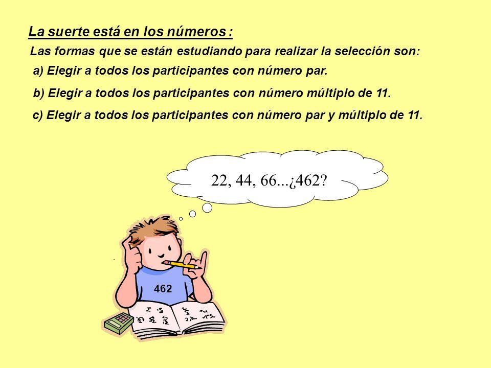 462 c) Elegir a todos los participantes con número par y múltiplo de 11. 22, 44, 66...¿462? b) Elegir a todos los participantes con número múltiplo de