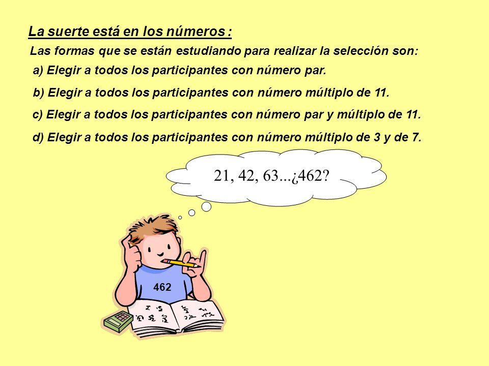 d) Elegir a todos los participantes con número múltiplo de 3 y de 7. 462 c) Elegir a todos los participantes con número par y múltiplo de 11. b) Elegi