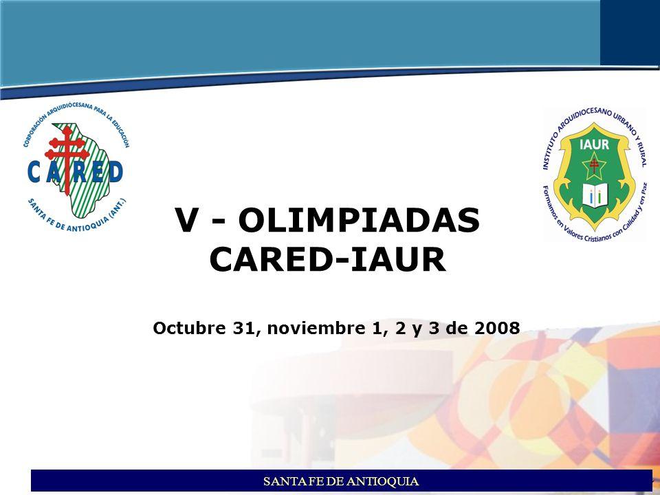 itson ITSON - Educar para Trascender V- OLIMPIADAS CARED-IAUR SANTA FE DE ANTIOQUIA Octubre 31, noviembre 1, 2 y 3 de 2008 COMUNICADO DE PRENSA El lunes 3 de noviembre de 2008 culminó la quinta versión de las Olimpiadas Deportivas y Culturales CARED – IAUR, han sido cuatro días de compartir experiencias, fomentar lazos de amistad, solidaridad, así como el fortalecimiento del desarrollo comunitario y el tejido institucional.