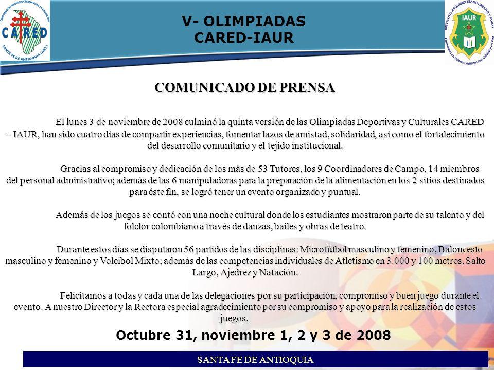 itson ITSON - Educar para Trascender V- OLIMPIADAS CARED-IAUR SANTA FE DE ANTIOQUIA Octubre 31, noviembre 1, 2 y 3 de 2008 TABLA DE POSICIONES