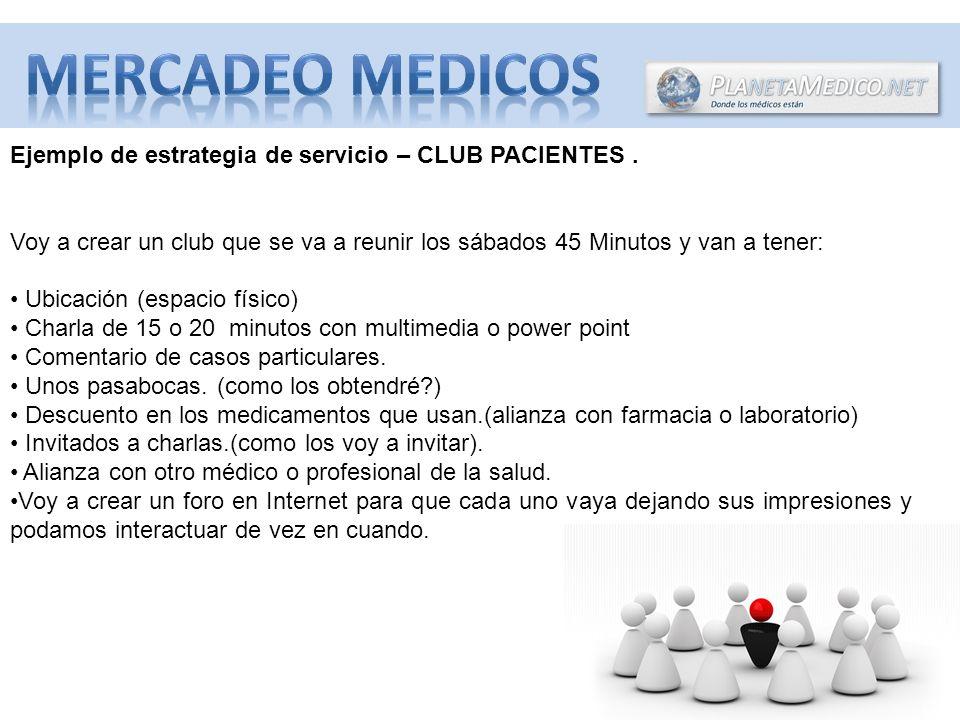 Ejemplo de estrategia de servicio – CLUB PACIENTES. Voy a crear un club que se va a reunir los sábados 45 Minutos y van a tener: Ubicación (espacio fí