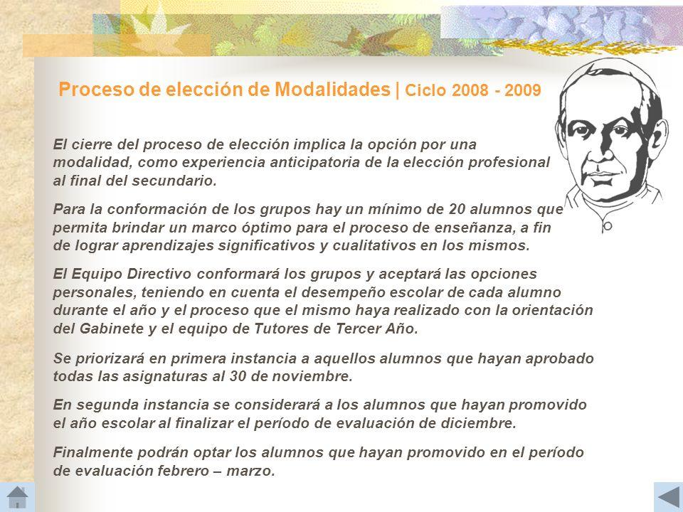Proceso de elección de Modalidades | Ciclo 2008 - 2009 El cierre del proceso de elección implica la opción por una modalidad, como experiencia anticip