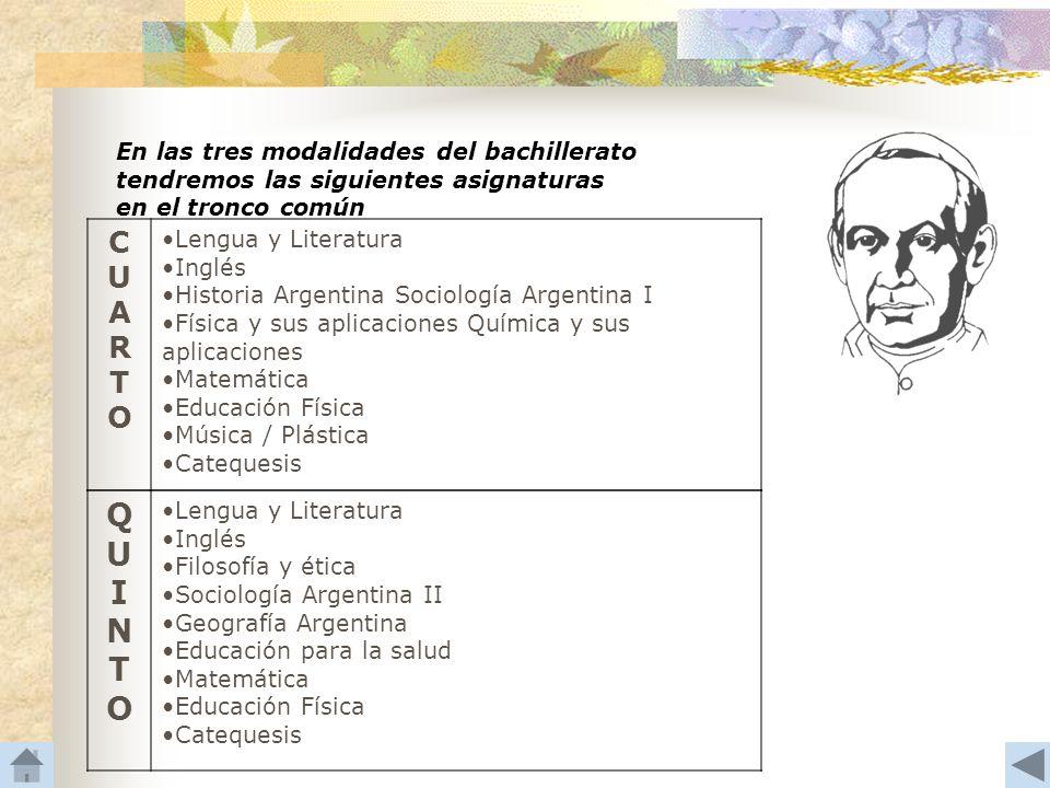 En las tres modalidades del bachillerato tendremos las siguientes asignaturas en el tronco común CUARTOCUARTO Lengua y Literatura Inglés Historia Arge