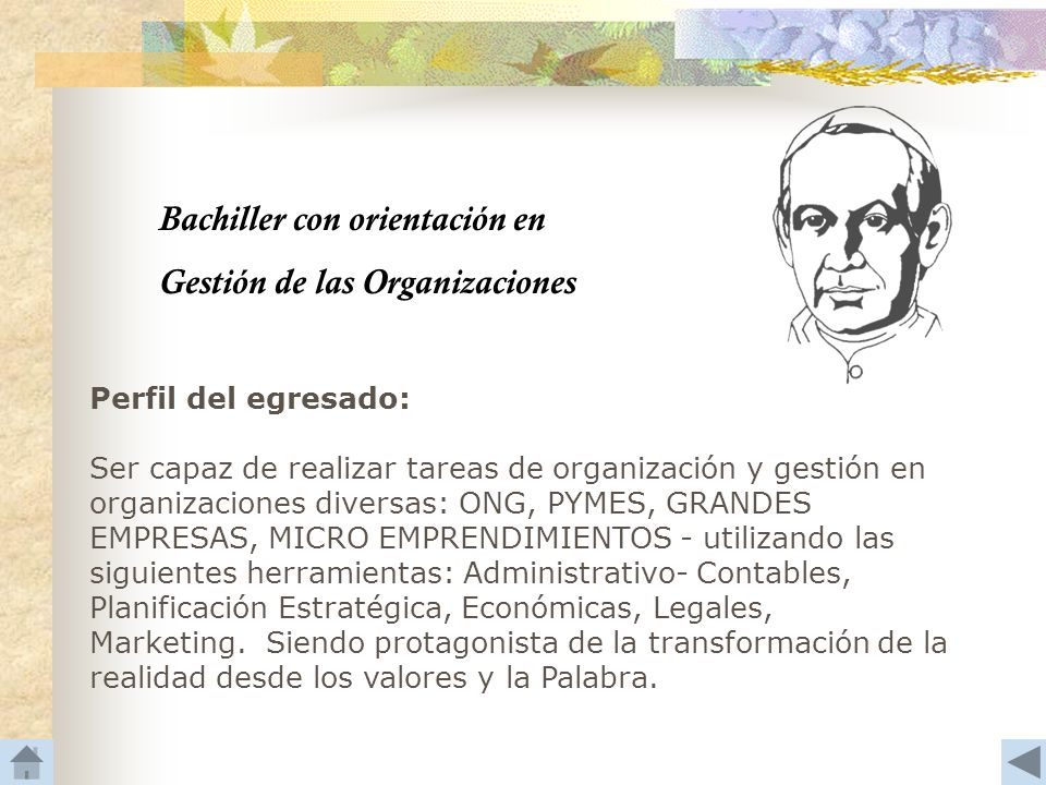 Bachiller con orientación en Gestión de las Organizaciones Perfil del egresado: Ser capaz de realizar tareas de organización y gestión en organizacion
