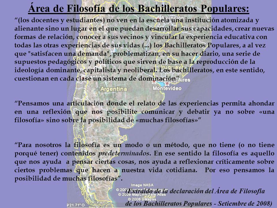 Los Bachilleratos Populares: Los Bachilleratos Populares son una experiencia pedagógico-política, nueva, y arraigada en la Ciudad de Buenos Aires y al