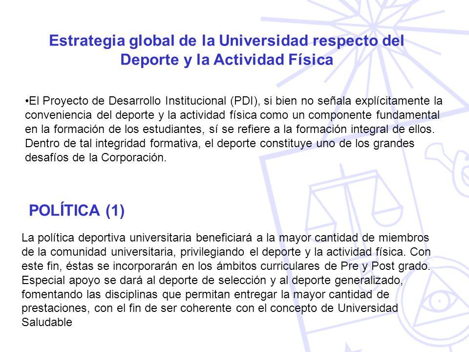 Estrategia global de la Universidad respecto del Deporte y la Actividad Física El Proyecto de Desarrollo Institucional (PDI), si bien no señala explíc