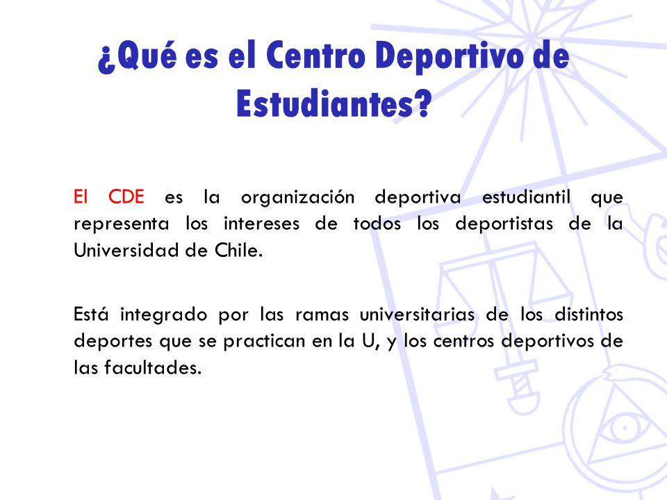 ¿Qué es el Centro Deportivo de Estudiantes? El CDE es la organización deportiva estudiantil que representa los intereses de todos los deportistas de l