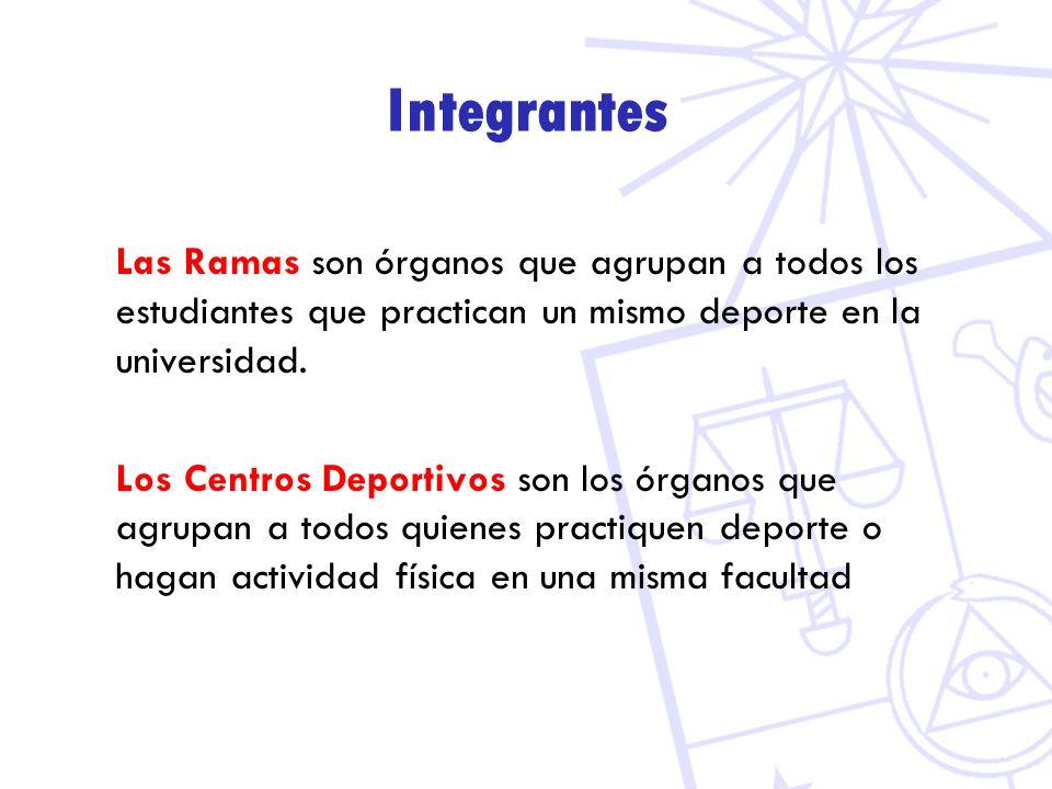 Integrantes Las Ramas son órganos que agrupan a todos los estudiantes que practican un mismo deporte en la universidad. Los Centros Deportivos son los