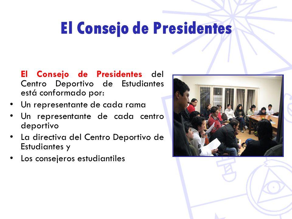 El Consejo de Presidentes El Consejo de Presidentes del Centro Deportivo de Estudiantes está conformado por: Un representante de cada rama Un represen