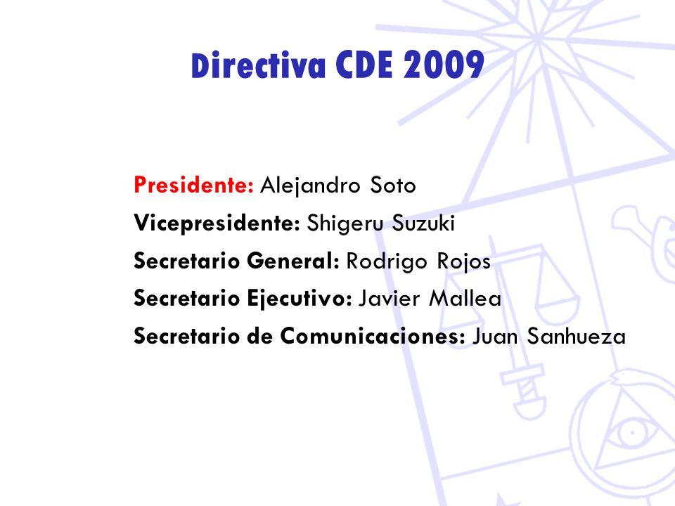 D irectiva CDE 2009 Presidente: Alejandro Soto Vicepresidente: Shigeru Suzuki Secretario General: Rodrigo Rojos Secretario Ejecutivo: Javier Mallea Secretario de Comunicaciones: Juan Sanhueza