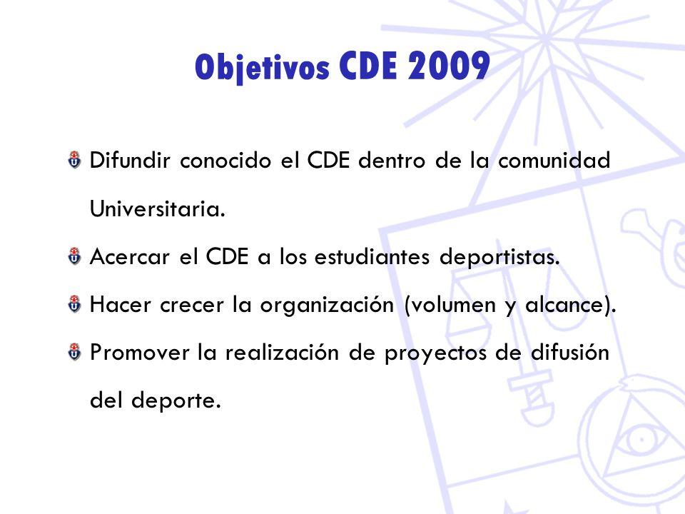 Objetivos CDE 2009 Difundir conocido el CDE dentro de la comunidad Universitaria. Acercar el CDE a los estudiantes deportistas. Hacer crecer la organi