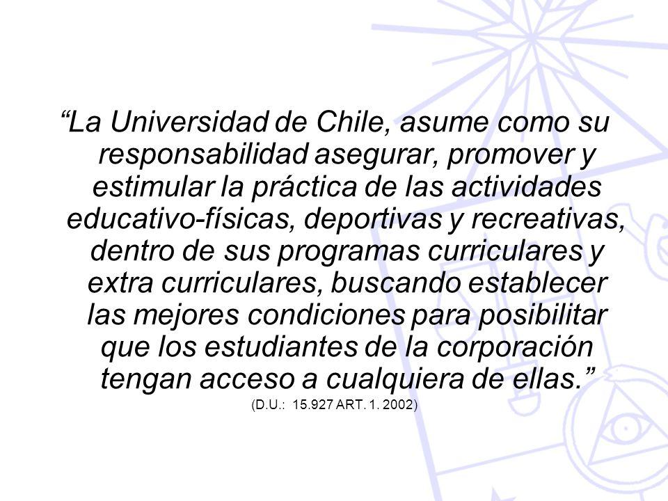 La Universidad de Chile, asume como su responsabilidad asegurar, promover y estimular la práctica de las actividades educativo-físicas, deportivas y r
