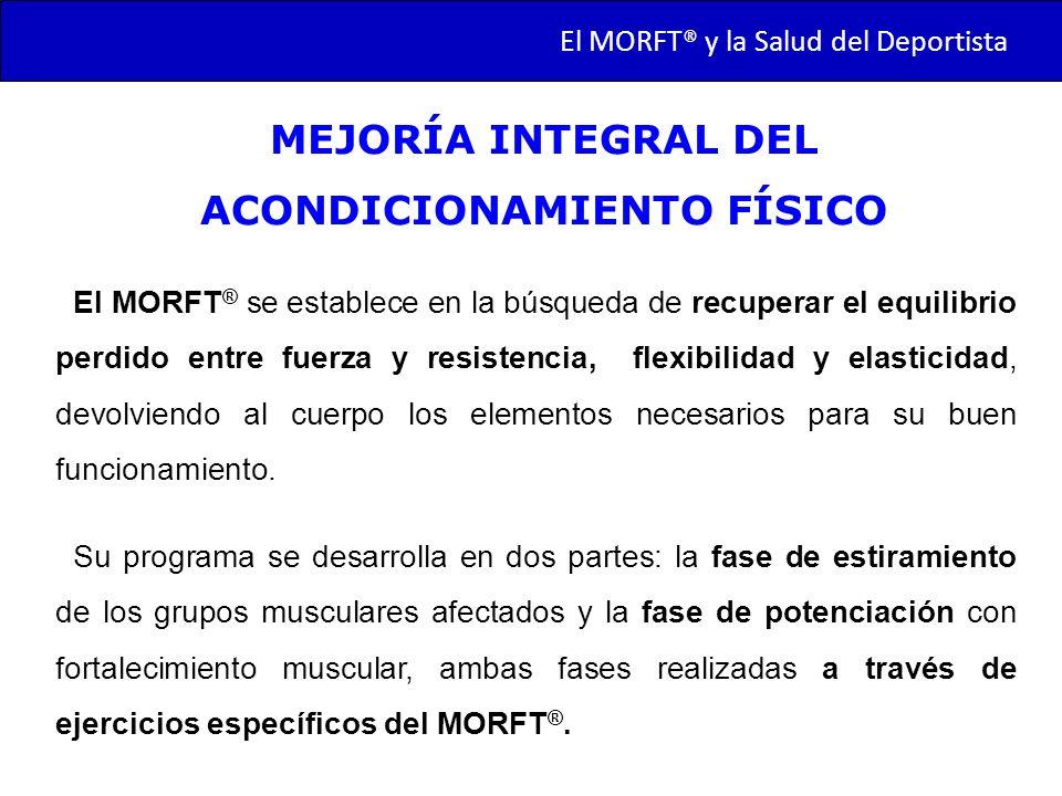 TRANSMORFT – Agosto de 2011 El MORFT ® se establece en la búsqueda de recuperar el equilibrio perdido entre fuerza y resistencia, flexibilidad y elast