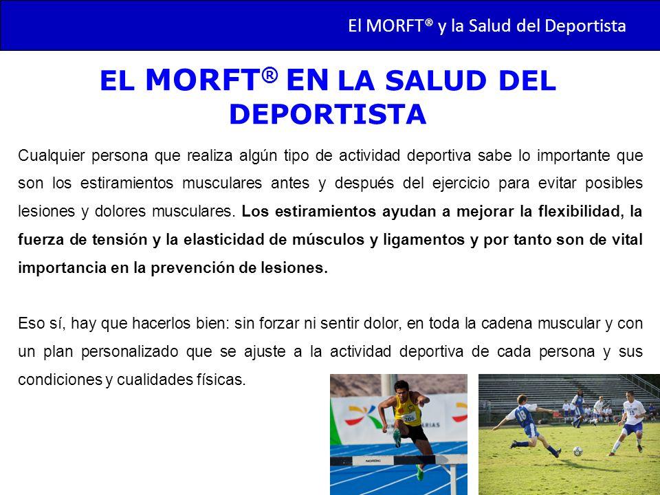 TRANSMORFT – Agosto de 2011 EL MORFT ® EN LA SALUD DEL DEPORTISTA Cualquier persona que realiza algún tipo de actividad deportiva sabe lo importante q