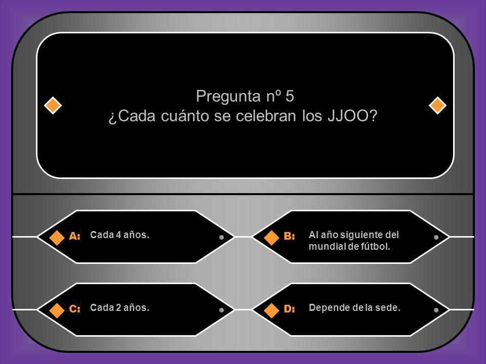 A:B: Cada 4 años.Al año siguiente del mundial de fútbol.