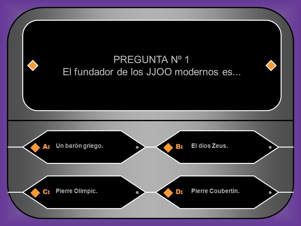 A:B: Un barón griego.El dios Zeus.PREGUNTA Nº 1 El fundador de los JJOO modernos es...