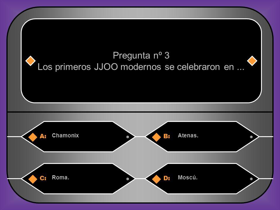 A:B: ChamonixAtenas. Pregunta nº 3 Los primeros JJOO modernos se celebraron en... C:D: Roma.Moscú.