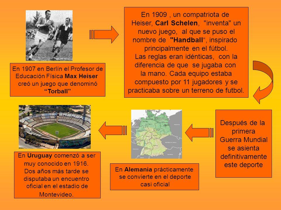 En 1907 en Berlín el Profesor de Educación Física Max Heiser creó un juego que denominó Torball En 1909, un compatriota de Heiser, Carl Schelen, inventa un nuevo juego, al que se puso el nombre de Handball, inspirado principalmente en el fútbol.