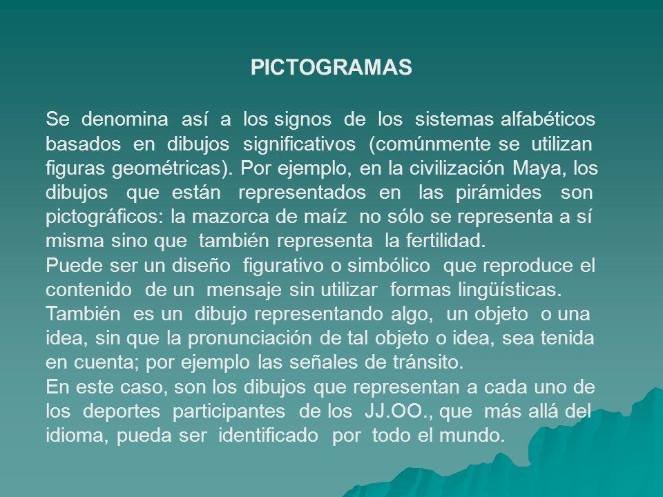 PICTOGRAMAS Se denomina así a los signos de los sistemas alfabéticos basados en dibujos significativos (comúnmente se utilizan figuras geométricas). P