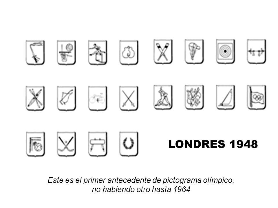 LONDRES 1948 Este es el primer antecedente de pictograma olímpico, no habiendo otro hasta 1964