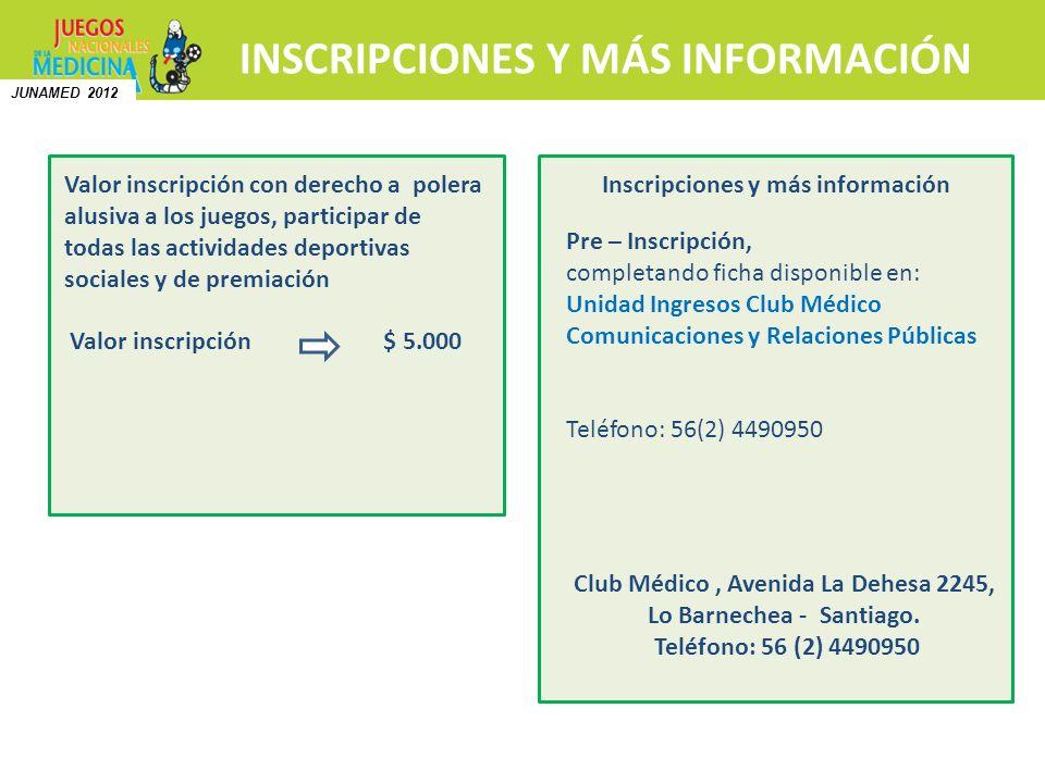 INSCRIPCIONES Y MÁS INFORMACIÓN Pre – Inscripción, completando ficha disponible en: Unidad Ingresos Club Médico Comunicaciones y Relaciones Públicas T