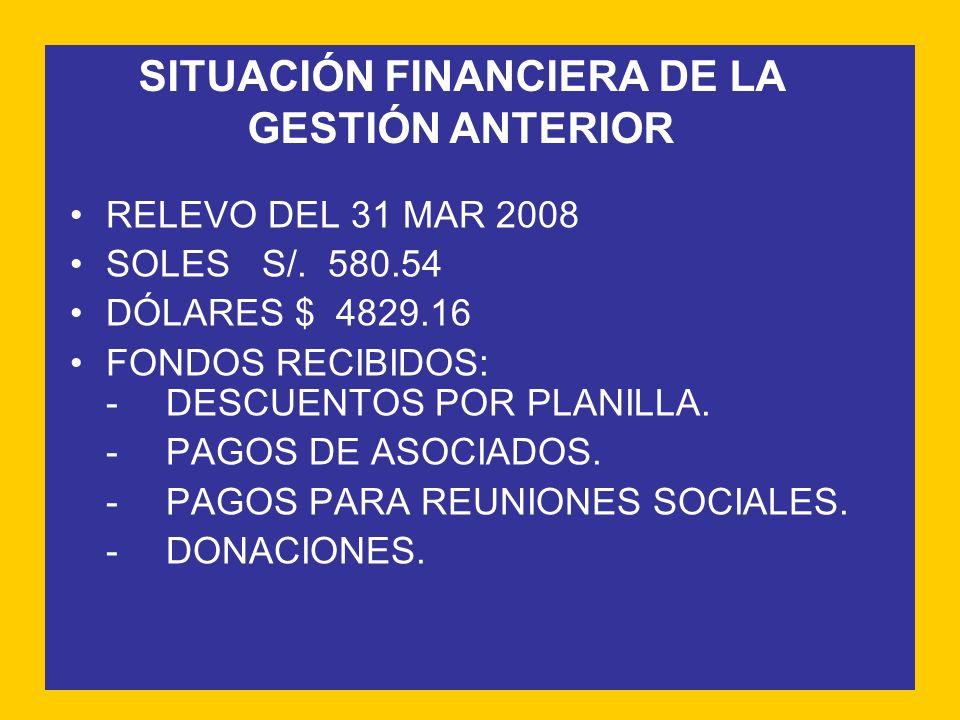 SITUACIÓN FINANCIERA DE LA GESTIÓN ANTERIOR RELEVO DEL 31 MAR 2008 SOLESS/. 580.54 DÓLARES $ 4829.16 FONDOS RECIBIDOS: -DESCUENTOS POR PLANILLA. -PAGO