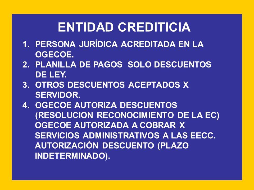 ENTIDAD CREDITICIA 1.PERSONA JURÍDICA ACREDITADA EN LA OGECOE. 2.PLANILLA DE PAGOS SOLO DESCUENTOS DE LEY. 3.OTROS DESCUENTOS ACEPTADOS X SERVIDOR. 4.